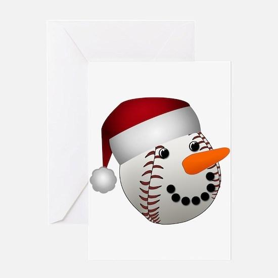 Christmas Baseball Snowman Greeting Cards