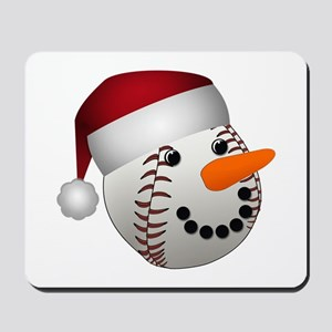Christmas Baseball Snowman Mousepad