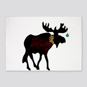 Decorated Moose 5'x7'area Rug