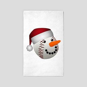 Christmas Baseball Snowman Area Rug