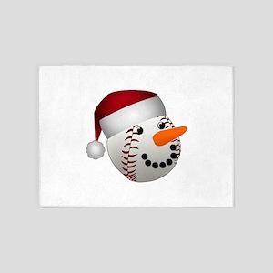 Christmas Baseball Snowman 5'x7'Area Rug