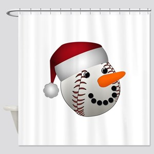 Christmas Baseball Snowman Shower Curtain