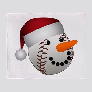 Christmas Baseball Snowman Throw Blanket