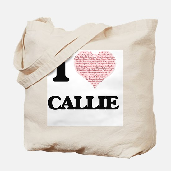 I love Callie (heart made from words) des Tote Bag