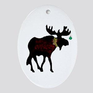 Decorated Moose Oval Ornament