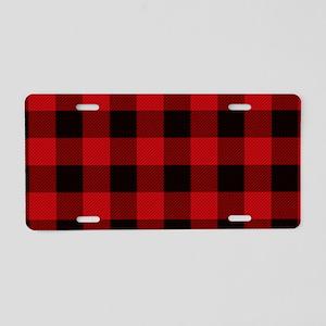 Red Plaid Aluminum License Plate