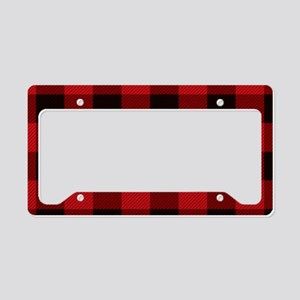 Red Plaid License Plate Holder