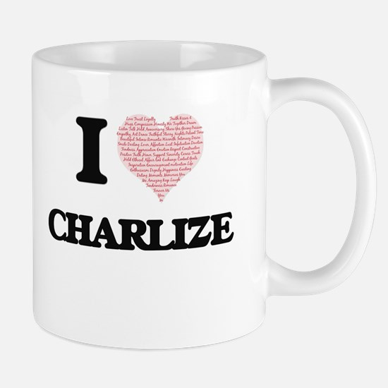 I love Charlize (heart made from words) desig Mugs