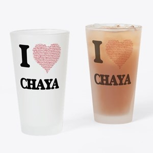 I love Chaya (heart made from words Drinking Glass