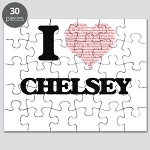 I love Chelsey (heart made from words) desi Puzzle