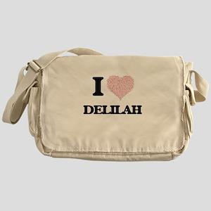 I love Delilah (heart made from word Messenger Bag