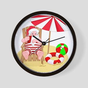beach santa claus Wall Clock
