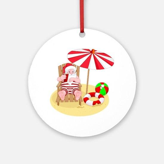 beach santa claus Round Ornament