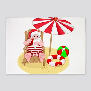 beach santa claus 5'x7'Area Rug