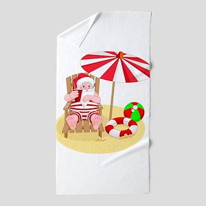 beach santa claus Beach Towel