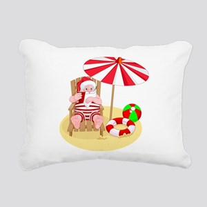 beach santa claus Rectangular Canvas Pillow