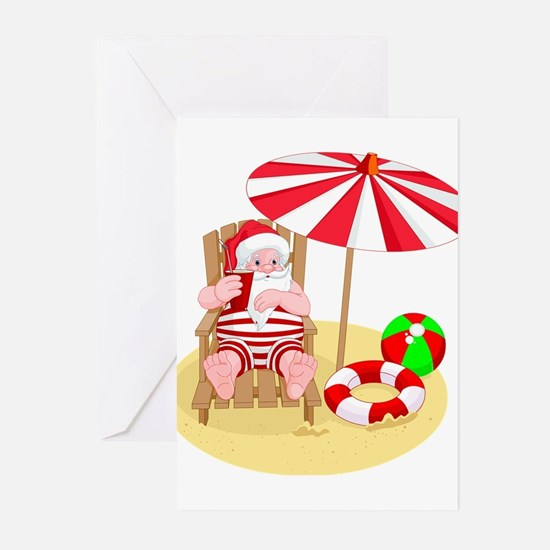 beach santa claus Greeting Cards