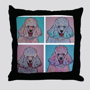 4 Crazy Poodles Throw Pillow