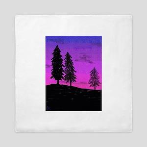 Silhouette Trees Queen Duvet