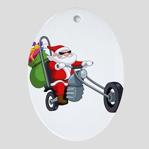 biker badass santa claus Oval Ornament
