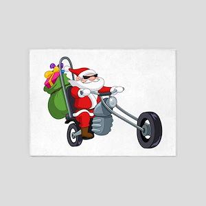 biker badass santa claus 5'x7'Area Rug