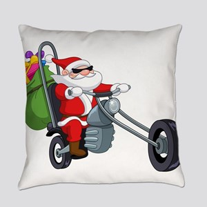 biker badass santa claus Everyday Pillow