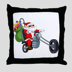 biker badass santa claus Throw Pillow