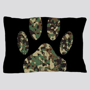 Distressed Camo Dog Paw Print On Black Pillow Case