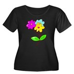 Cute Bouquet Women's Plus Size Scoop Neck Dark T-S
