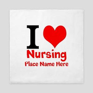 I Love Nursing Queen Duvet