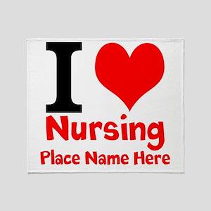 I Love Nursing Throw Blanket