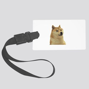 DogeCoin Doge Staring Large Luggage Tag