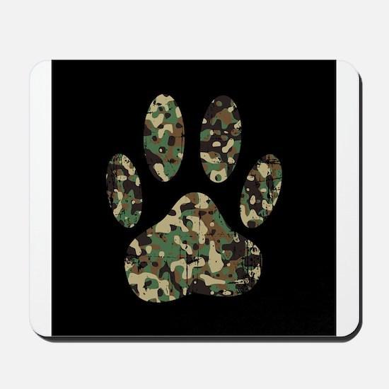 Distressed Camo Dog Paw Print On Black Mousepad