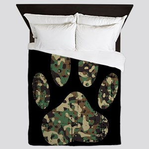 Distressed Camo Dog Paw Print On Black Queen Duvet