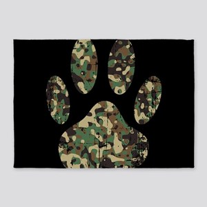Distressed Camo Dog Paw Print On Bl 5'x7'Area Rug