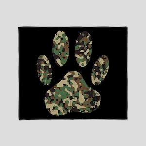 Distressed Camo Dog Paw Print On Bla Throw Blanket