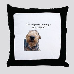 Airedale Terrier Hoping for a Treat B Throw Pillow