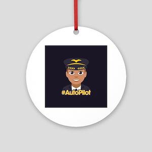 Emoji Pilot Hashtag Round Ornament