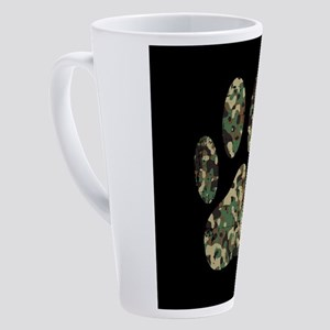 Distressed Camo Dog Paw Print On B 17 oz Latte Mug