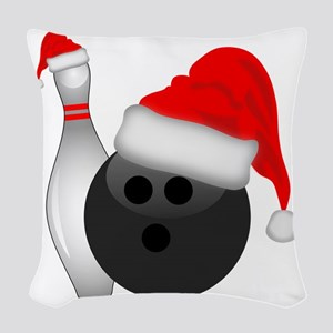 Christmas Bowling Woven Throw Pillow
