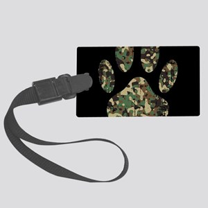 Distressed Camo Dog Paw Print On Large Luggage Tag