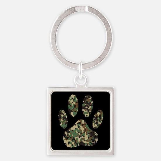 Distressed Camo Dog Paw Print On Black Keychains