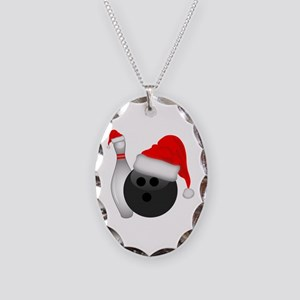 Christmas Bowling Necklace Oval Charm