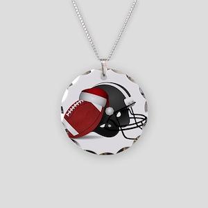 Christmas Football Necklace Circle Charm