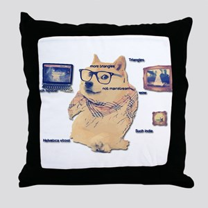 Hipster Doge Hipster things Throw Pillow