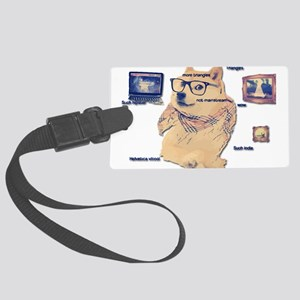 Hipster Doge Hipster things Large Luggage Tag