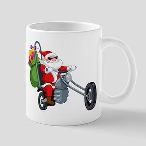 biker badass santa claus Mugs