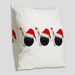 Christmas Bowling Burlap Throw Pillow