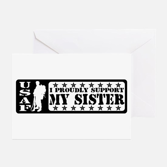 Proudly Support Sis - USAF Greeting Cards (Pk of 1