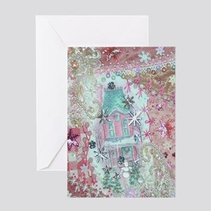 Pink Victorian Christmas House Greeting Cards